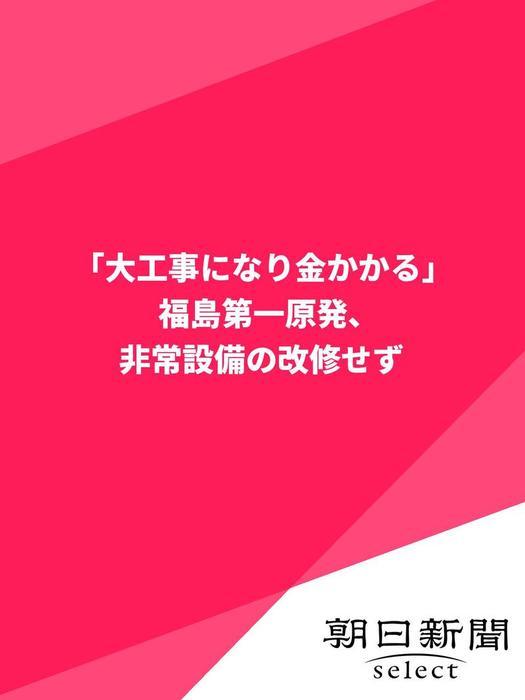 「大工事になり金かかる」  福島第一原発、非常設備の改修せず拡大写真