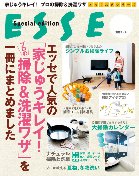 エッセで人気の「家じゅうキレイ!プロの掃除&洗濯ワザ」を一冊にまとめました拡大写真