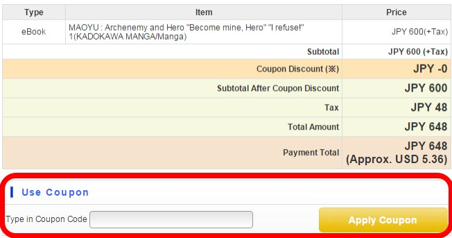 Settlement/before entering coupon code