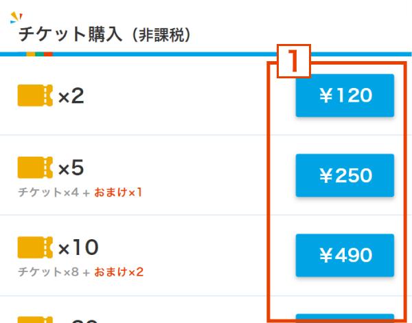 (1) チケット購入画面からご希望のチケット枚数の金額ボタンを押す。
